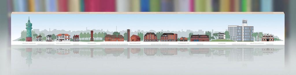 Lokstedt Panorama Fries als Simulation vor einem Bücherregal