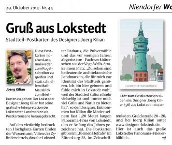 Stadtteil-Postkarten des Designers Joerg Kilian, Artikel im Niendorfer Wochenblatt 29.10.2014