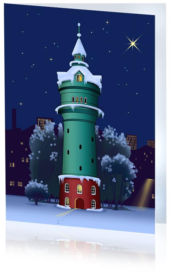 Der Lokstedter Wasserturm im Wintergewand als Weihnachtsklappkarte A6
