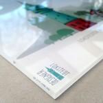 Rückseitig Digitaldruck auf Folie, handkaschiert, 6 mm Acrylglass, Kanten poliert