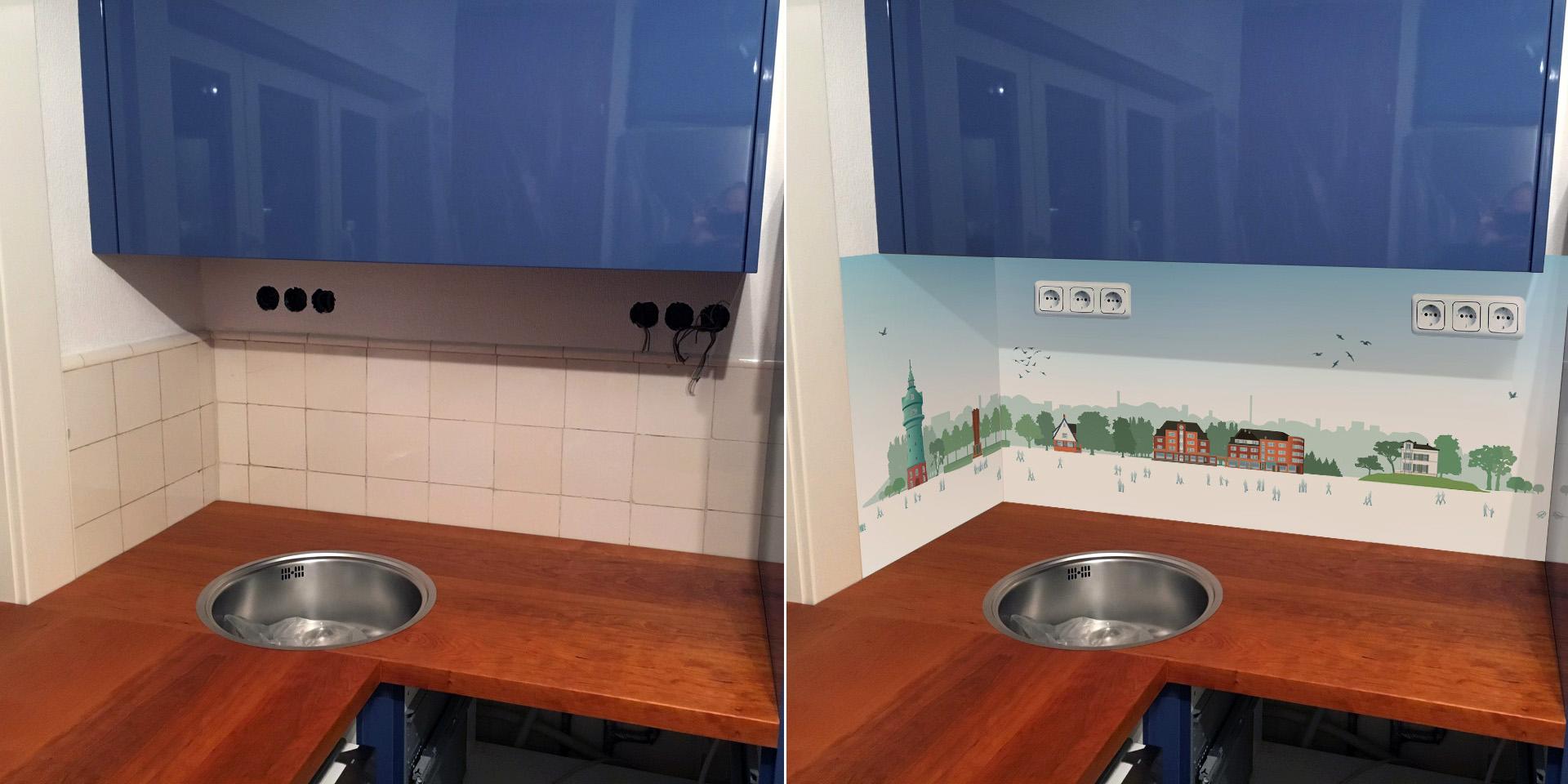 Vorher und Nachher des zweiteiligen Lokstedt Panorama Personal für die frisch renovierte Küche